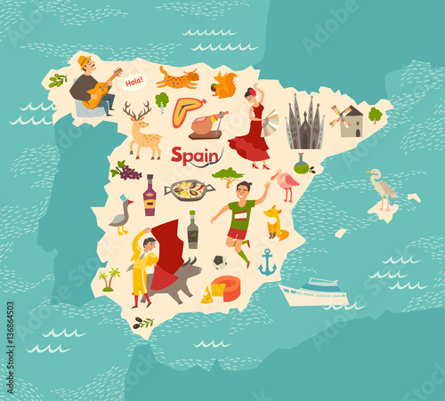 Spain map vector. Illustrated map of Spain for children/kid. Cartoon abstract atlas of Spain with landmark: flamenco, guitar, sangria, paella, bullfight and jamon