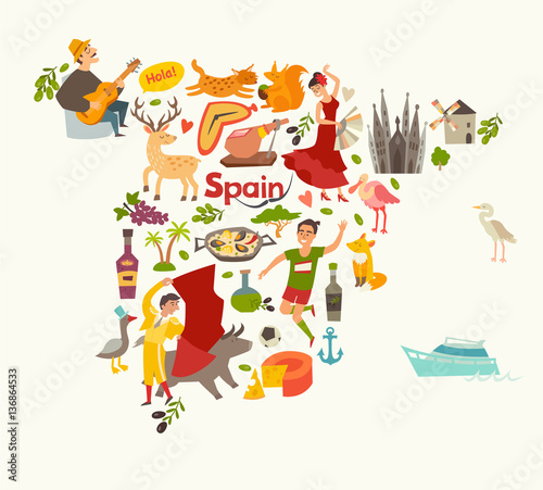 Map Of Spain For Children.Spain Map Vector Contour Illustrated Map Of Spain For Children Kid