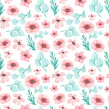 Watercolor Flowers And Blue Leaves Seamless Pattern - 136865369