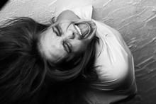 Screaming Crazy Fun Woman In Straitjacket, Monochrome