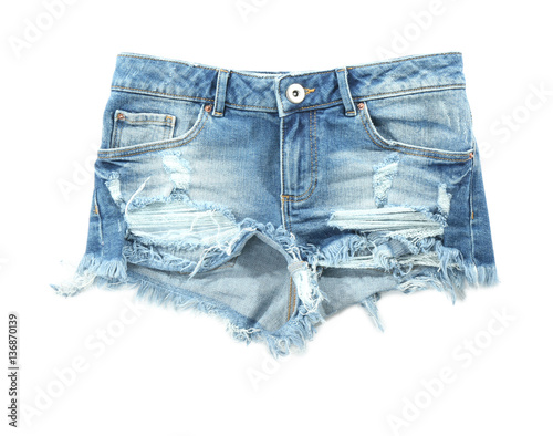 Fotografía  Denim shorts on white background