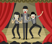 Three Clowns Mimes On Stage