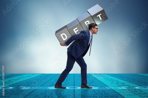 Businessman under heavy debt burden Fototapet