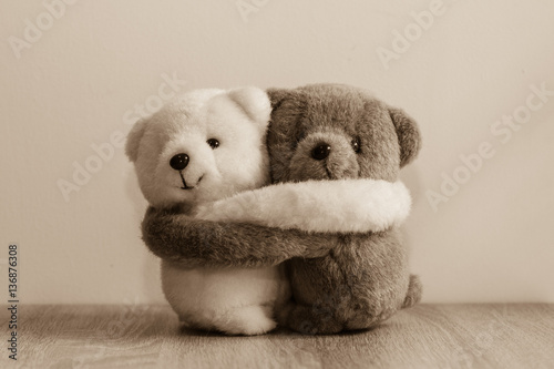 White and brown teddy bears hugging. Fotobehang