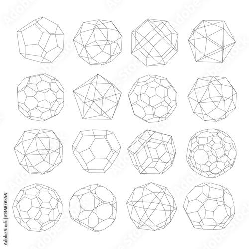 Set  of polyhedrons - vector illustration Canvas Print