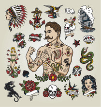 Tattoo Flash Set. Isolated Tat...