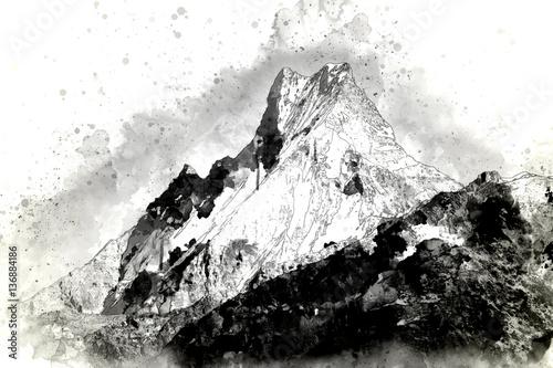 Streszczenie pasmo górskie w monotonii, cyfrowy obraz akwarela