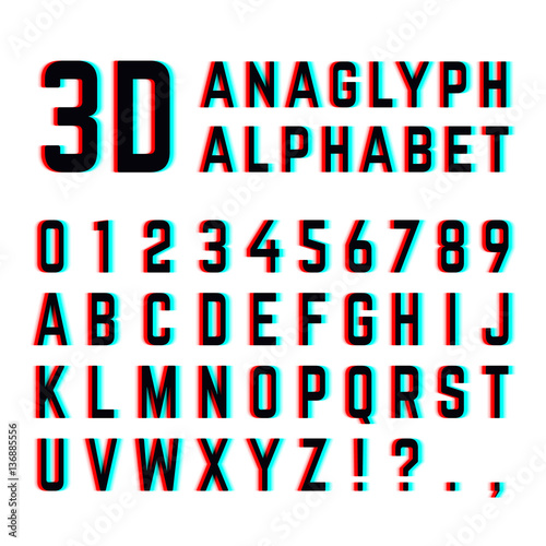 Photo Tv distortion 3D effect stereoscopic, anaglyph alphabet and numbers