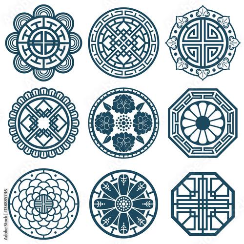 Fotografía  Traditional korean symbols, vector korea pattern design for bathroom repeat tile