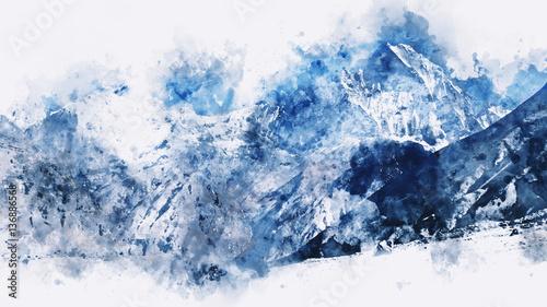 abstrakcjonistyczne-gory-w-blekitnym-brzmieniu-cyfrowa-akwarela