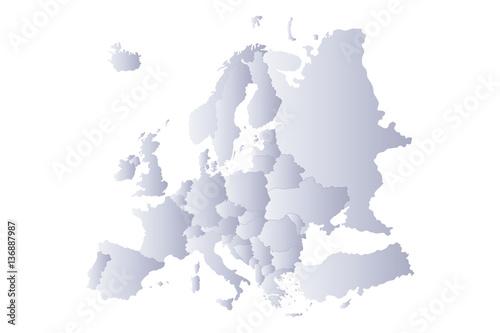 Photo  map europe gray