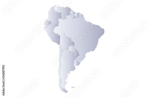 map south america gray Canvas Print
