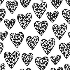 Tapeta Hand Drawn Hearts Pattern