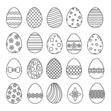 Happy Easter Eggs Thin Line Ve...