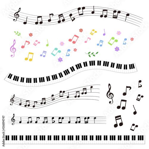 Fotografiet  手描き 音符と鍵盤セット / vector eps