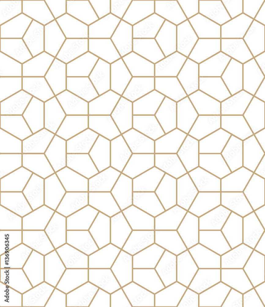 Fototapety, obrazy: Abstract geometry gold deco art hexagon pattern