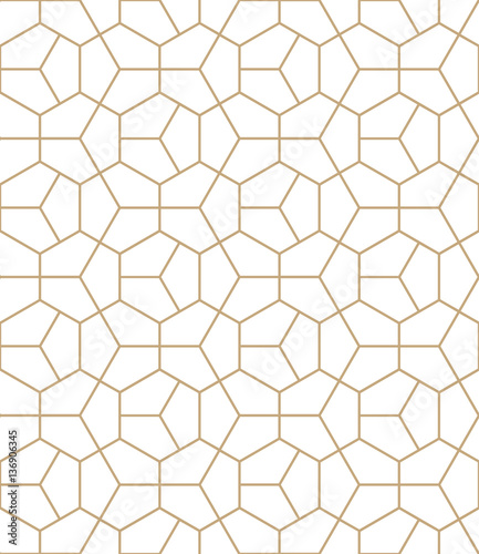 Abstract geometry gold deco art hexagon pattern Wallpaper Mural