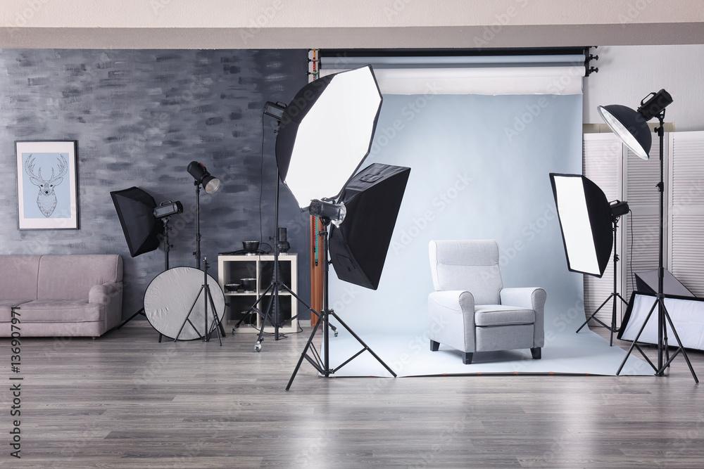Fototapety, obrazy: Photo studio with lightning equipment