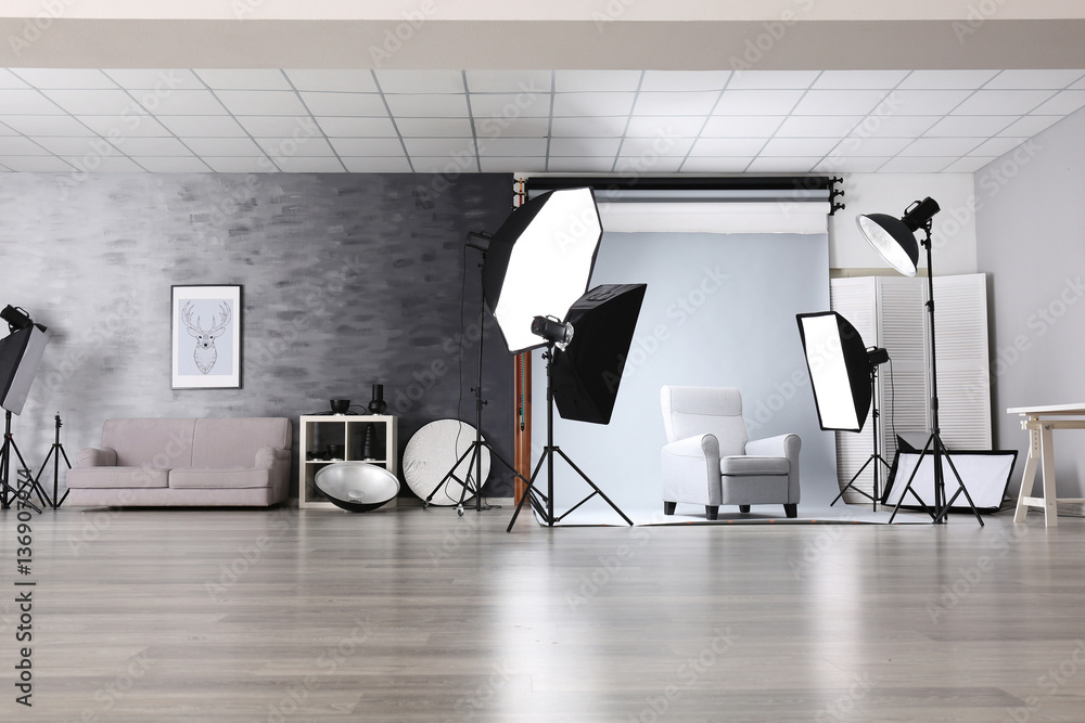 Fototapety, obrazy: Photo studio with lightning equipment