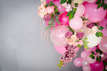 Pink Balloons Decorated With A Bouquet Of Roses On A Blue Background