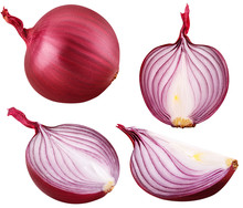 Bulb Red Onion Set Cut Isolate...