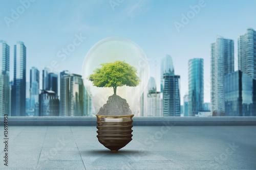 Green tree inside light bulb against modern city