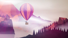 Hot Air Balloon Near Forest And Lake , Man With Telescope In Bas