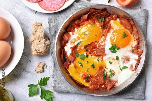 Foto op Plexiglas Gebakken Eieren Morning food, fried eggs