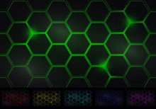 Hexagon Background Six Isolated Variants Of Color Scheme