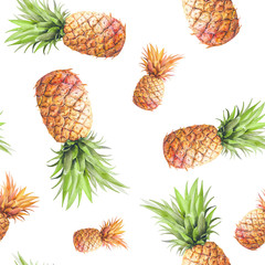 Panel Szklany Owoce Watercolor pineapples seamless pattern. Hand drawn repeating texture with realistic pineapple on white background. Fashion summer wallpaper design