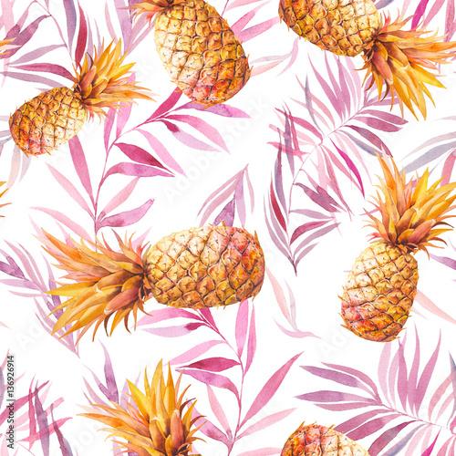 akwarela-zwrotnik-wzor-z-zlote-ananasy-i-liscie-palmowe-nowozytna-dekoracyjna-tekstura-na-bialym-tle-projekt-tapety-letniej-zywnosci