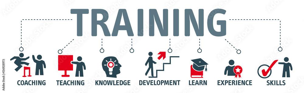 Fototapeta Banner Training and learning concept