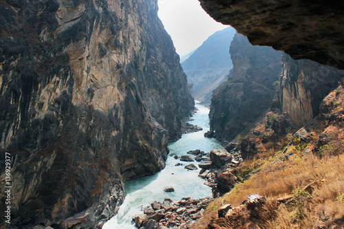 Yangtze river in one of the deepest ravines of the world, Tiger Leaping Gorge Wallpaper Mural