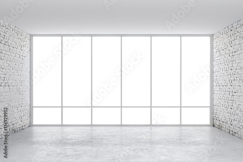 Fototapeta 3d interior empty room with a big window frame obraz
