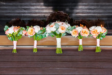 Five Wedding Bouquets Of Roses