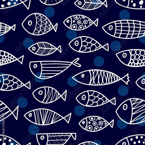 Fotobehang Kunstmatig Blue fish. Vector seamless pattern.