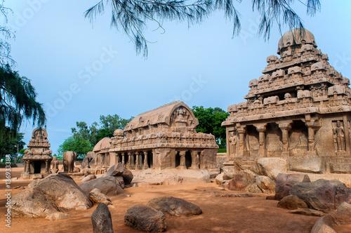 Fotografie, Obraz  Pancha Rathas monument complex at Mahabalipuram, India