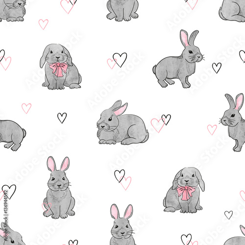 Cotton fabric Easter rabbits seamless pattern. Vector background with cute watercolor bunnies.