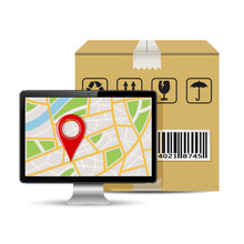 Shipping Parcel Tracking Order Design, Vector Illustration