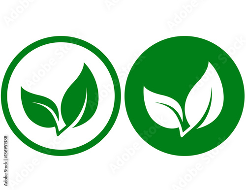Papiers peints Vert icon with green leaf