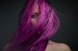 Leinwandbild Motiv portrait attractive girl with violet hair