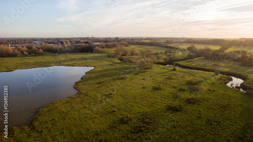 Spoed Foto op Canvas Wit Drone Picture Aerial of a Lake in the English countryside