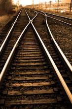 Railroad Tracks With Rails For Train