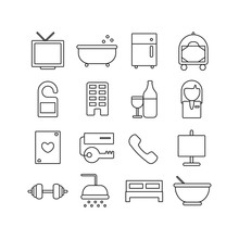 Set Of Hotel Related Vector Li...