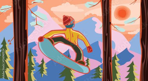 Türaufkleber Künstlich snowboarder at the forest
