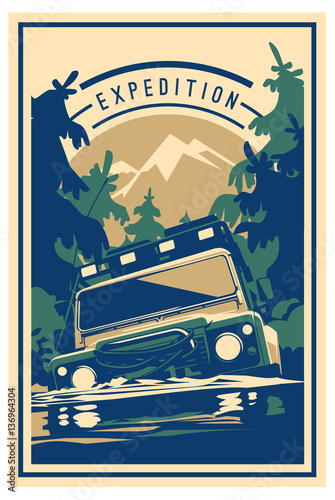 Obraz oldtimer  off-road-car-logo-safari-suv-expedition-offroader