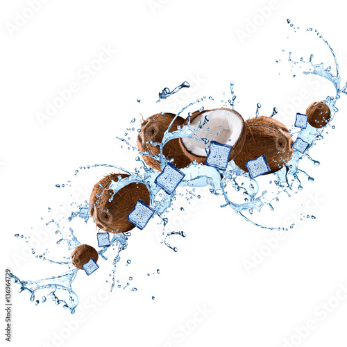 Wall Murals Palm tree Water splash with coconut isolated on white background. Abstract object. Fresh fruits.