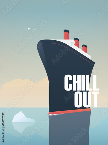 Photo Big ship sailing on sea with iceberg in its way