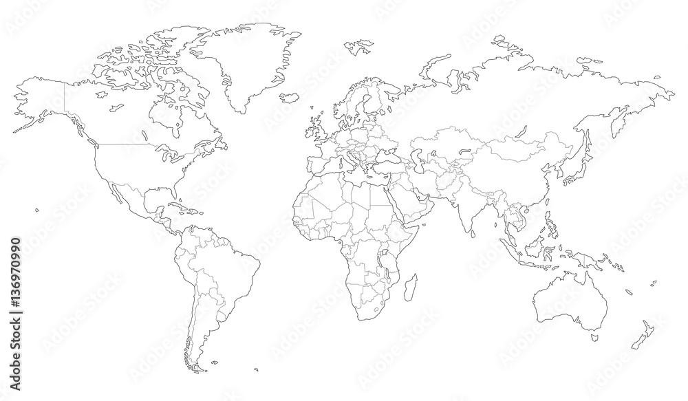 Fototapety, obrazy: Outlined vector map of the world