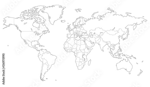 Fototapeta Outlined vector map of the world obraz